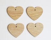 set of 4 wood heart ornaments