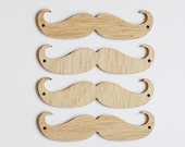 set of 4 wood moustache ornaments