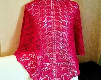 Knit shawl. Lace shawl. Wine shawl. Ready to ship.