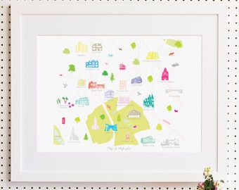 Map of Highgate, North London Print