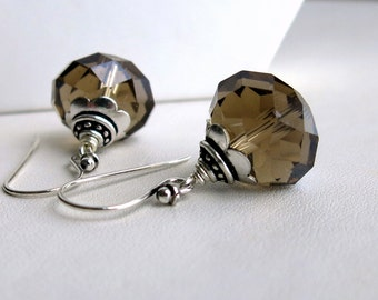 Sterling silver earrings with faceted smoky quartz crystals