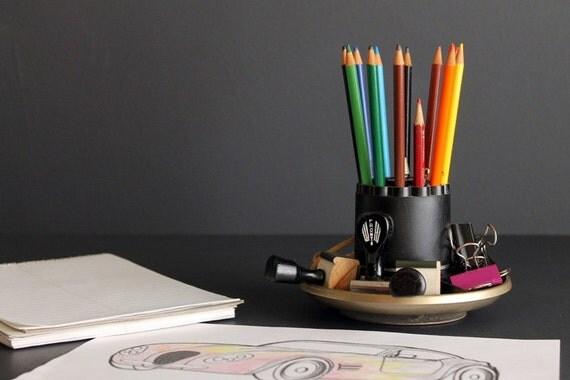 Vintage lazy susan desk pencil pen caddy organizer cigarette - Lazy susan desk organizer ...