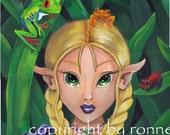 Friends 2 big eye Fairy frogs fantasy cartoon illustration pop fine art 5X7 PRINT by Ronne P Barton