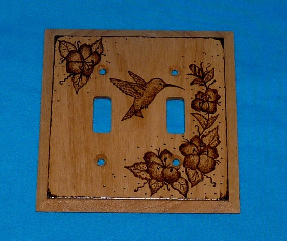 Double Decorative Wood Light Switch Plate- Cover, Burned, Hummingbird, Floral, Rustic