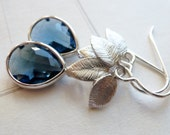 Sapphire Glass Bezel Teardrop Dangle Earrings / Silver Leaf Leaves / Denim Blue / SimplyJoli