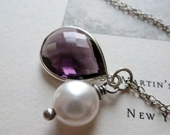 Amethyst Quartz Bezel Necklace / Creamy White Coin Pearl / SimplyJoli / Purple Passion Plum