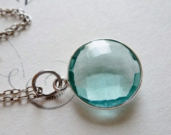 Aqua Quartz Sterling Silver Round Bezel Necklace / Aqua Blue Pool / SimplyJoli