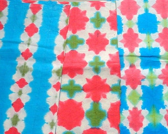 Handmade Batik Gift wrapping paper in Red Blue and Green