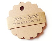25 Kraft Paper Scalloped Gift Tags