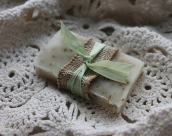 Soap Favors- Weddings- Bridal-Baby-Showers-Burlap and Vintage Ribbon-Rustic-French Chic- Country- Belle Savon Vermont
