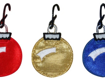 ID #8212ABC Set of 3 Christmas Ornament Bauble Decoration Iron On Applique Patch