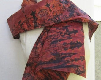 Hand dyed Scarf, Shibori Scarf, Rust/brown Scarf, multi color scarf, Extra long Scarf, Women's scarf