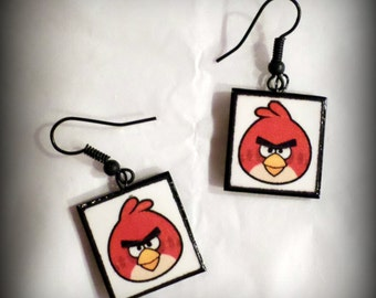 Handmade Angry Birds Polymer Clay Earrings