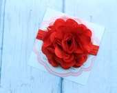 Red baby headband...baby headband..baby girl headband...Valentines headband..newborn headband..girl headband..photography prop