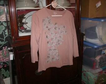 Hand beaded Soft Pink T-Shirt