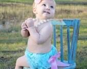 Baby Girl Petti Lace Bloomer Diaper headband set-Aqua Lace diaper cover-newborn diaper cover-lace bloomers-bloomer set-Photo Prop-cake smash