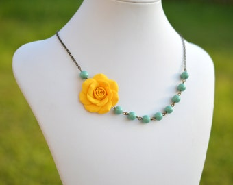 Golden Yellow and Green Jade Swarovski Pearls Asymmetrical Necklace, Yellow and mint Bridesmaid necklace
