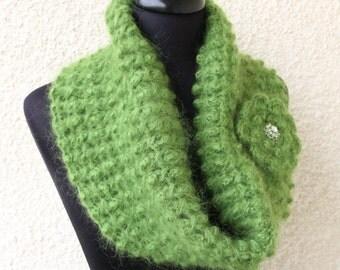 Crochet Cowl PATTERN, Mohair Cowl Scarf With Flower Brooch, DIY Crochet Gift For Women, Instant Download, PDF Pattern #146, Lyubava Crochet