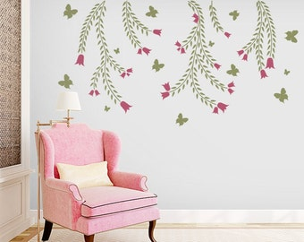 Butterflies and Vines - Vinyl Wall Decal
