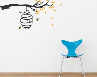 Buzzing Beehive Vinyl Wall Decal - Beehive Sticker, Honey Bee Decal, Bee Decor, Buzzing Bee, Country Wall Decal, Bee Wall Art, Bee Nursery