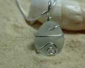 Drilled and wire wrapped white/very pale blue sea glass necklace with sterling silver chain