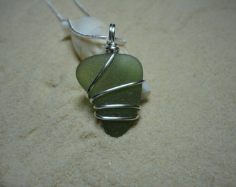 Large wire wrapped green sea glass necklace with sterling silver chain
