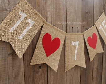 Save The Date Burlap Banner with Hearts // Burlap and Lace // Wedding Decoration