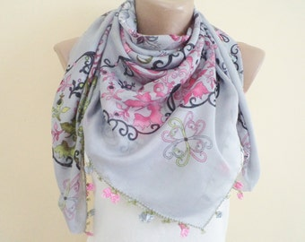 New Women Scarf Fashion Scarves Unique Mothers Day Gifts Spring Scarf Floral Grey and Pink Scarf Women Fashion Lovely Gifts Needle lace