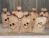 PRICE REDUCED! Grungy Stuffed Snowman Bag-Primitive Snowman