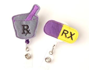 Pharmacist Gift Set - Felt Badge Reels - Cute Retractable ID Badge Clips - Medical Feltie Badge Holders - Pharmacy Tech Gifts - BadgeBlooms