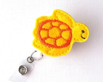 Yellow Sea Turtle - Felt Badge Holder - Cute Badge Reels - Retractable ID Badge Clips - Peds Badge Pulls - RN Badge - BadgeBlooms