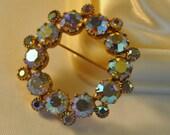 ON SALE Vintage Aurora Borealis Peach Blue Crystals Wreath Brooch - Elegant