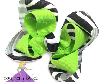 Medium Double Layer Boutique Bow, Zebra Bow, Two Layer Bow, Double Layer Zebra Stripes Bow