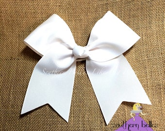 White Cheer Bow, Big White Cheer Bow, Big Softball Bow, Big Hair bow, Big White Hairbow, Big White Softball Bow, Big White Cheer Bow