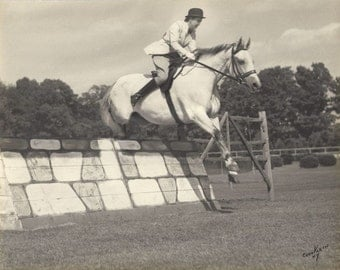 Over Easy - Vintage 1930s Equestrian and Show Jumper Silver Gelatin Print Photograph