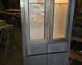 Vintage steel medical cabinet, modern industrial, military issue
