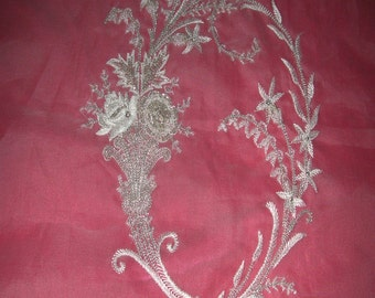 """No. 200 French Design of Couture Hand Embroidered MONOGRAM  """"O"""" Silver/Pearls & Embroidery"""