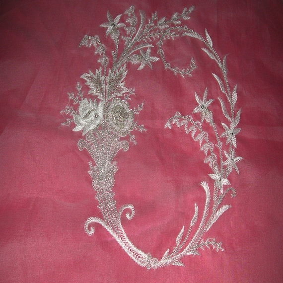 No french design of couture hand embroidered monogram