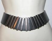 SILVER CINCH BELT // Modern Metal Geometric Black Waist Cincher Mod 80's Size s/m Wide New Wave Rocker