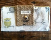 Checkbook Wallet with Burlap, Owls, Geometric Yellow and Brown Ticking Fabric with Change Purse