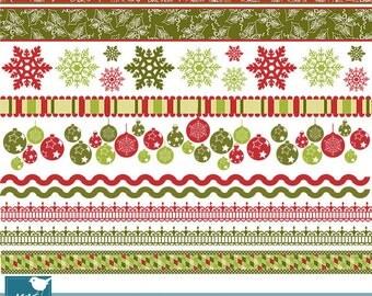 Vintage Christmas Borders - Scrapbooking borders - card design, invitations, paper crafts, web design