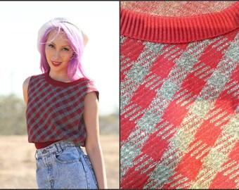 Vintage 70s Plaid Sweater Vest  Knit Top school girl  XS S M gray & Maroon
