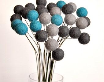 Felt ball flowers - felt flower bouquet, grey craspedia, gray blue bouquet, billy balls, billy buttons, turquoise grey, felt flowers, modern
