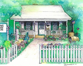 Architectural illustration of your building or business, watercolor portrait of commercial building, bed and breakfast, restaurant, hotel