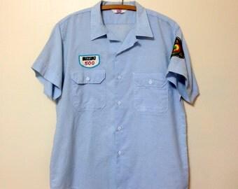 vintage mens work shirt suzuki patches size XL