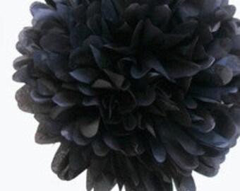"8"" Black Tissue Paper Pom Poms- Small Paper Flower Pom- Wedding Decoartion- Baby Shower- Bridal Decor- Hanging Room Paper Pom- Mickey Mouse"