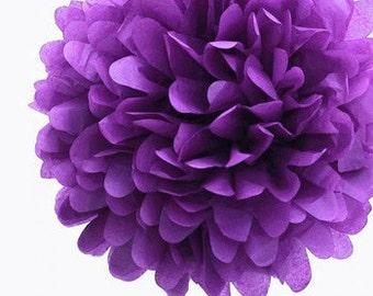 "4"" Purple Tissue Paper Pom Poms- Mini Paper Flower Pom-Wedding Decoartion-Baby Shower- Bridal Decor- Hanging Room Paper Pom- Sofia the First"
