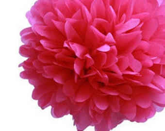 "14"" Fuschia Pink Tissue Paper Pom Poms-Large Paper Flower Pom-Wedding Decoartion-Baby Shower-Bridal Decor- Hanging Room Paper Pom- Valentine"
