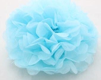 "10"" Light Blue Tissue Paper Pom- Medium Paper Flower Poms-Wedding Decoartion- Baby Boy Shower-Bridal Decor- Hanging Room Pom-Birthday Party"