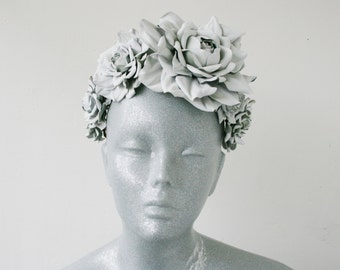 White(soft grey) leather rose crown - Made to Order